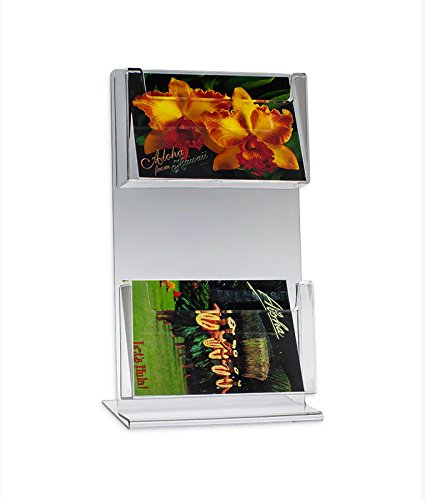 Source One 2 Pocket 2 Tier Counter Top Delxue Clear Postcard Holder