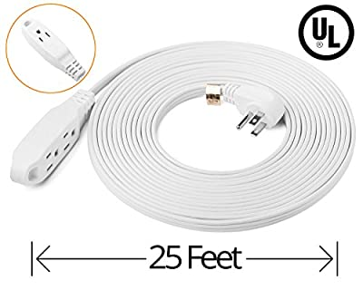 ClearMax 25 Feet 3 Outlet Extension Cord 16AWG Indoor / Outdoor Use - White - UL Listed