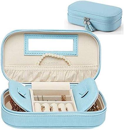 Vlando Schmucktasche zum Herausnehmen für Frauen und Mädchen, klein, ideal zum Reisen, aus Kunstleder, Quasten-Design blau