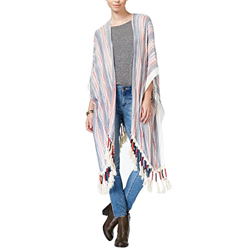 Boho-Chic Vacation & Fall Looks - Standard & Plus Size Styless - Steve Madden Flag Yarn Boho Topper Red ONE SIZE
