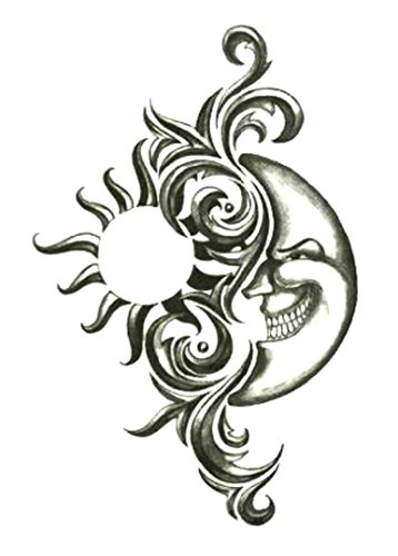 Moon Temporary Tattoo (Iron Tribal Sun & Moon Temporary Body Art Tattoos 2.5