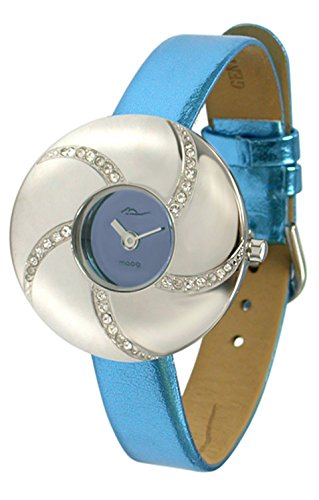 Moog Paris - Hypnotyse - Women's Watch with bright blue dial, bright blue strap in Genuine calf leather, made in France - M44312-005