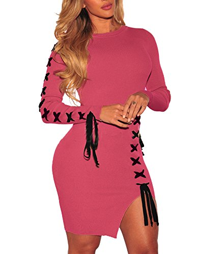 SheKiss Womens Long Sleeve Cute Knit Cardigan Tops Pullover Sweaters Dresses Ladies Wine Red Outfits