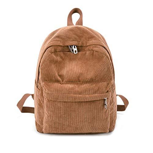 puhoon Women Vintage Corduroy Backpack, Computer Schoolbag, Travel Rucksack (Khaki) ()