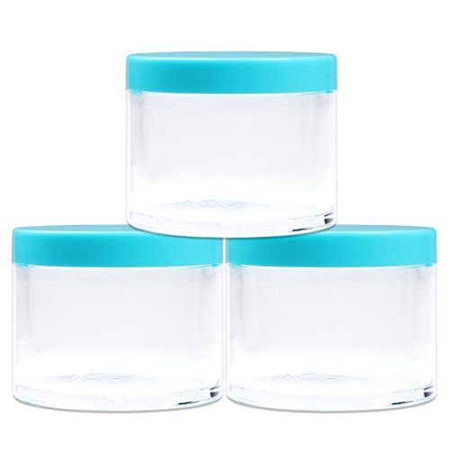 Beauticom 4 oz. (120g /120ML) (Quantity: 3 Packs) Thick Wall Round Leak Proof Clear Acrylic Jars with TEAL Lids for Beauty, Cream, Cosmetics, Salves, Scrubs