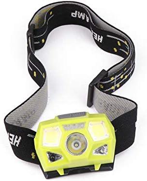 Leoie 3W USB Rechargeable Induction Headlamp Light Mini COB LED Headlight Head Torch Flashlight Yellow Flashlights