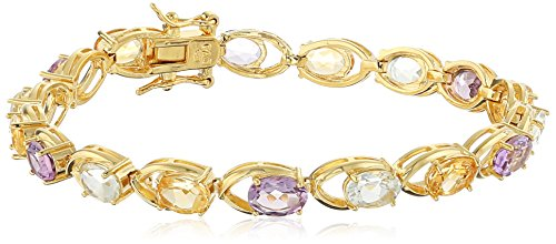 18k Yellow Gold Plated Sterling Silver Oval Citrine, Green Amethyst and Pink Amethyst 7x5mm Bracelet, - Bracelet Seven Amethyst Oval