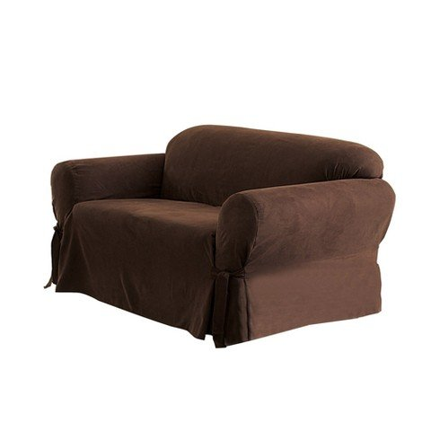 Sure Fit Suede Sofa Slipcover Chocolate Wow In The Details