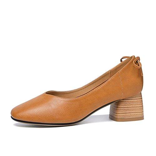 Shallow Mouth Talon Simples Tête Chaussures Yellow Shoes 38 Moyen Carrée Femme Épais Mode Low wXdgCICqW