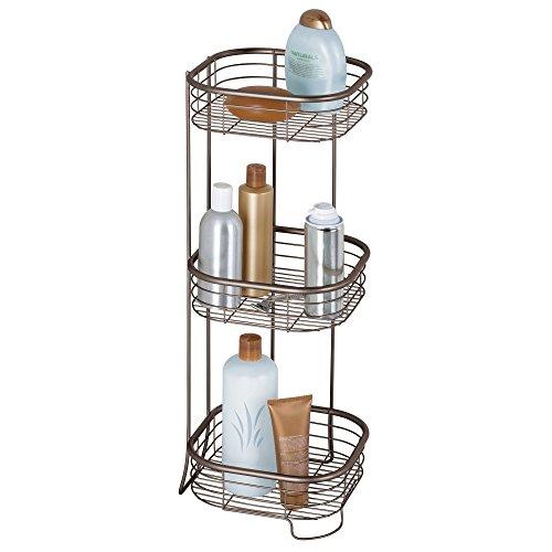 (InterDesign Forma Metal Wire Corner Standing Shower Caddy, Bath Shelf Baskets for Shampoo, Conditioner, Soap 9.5
