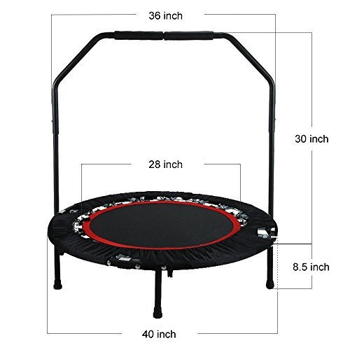 Alritz 40-Inch Fitness Trampoline, Foldable In-Home Rebounder with Handle Bar | Stable Exercise | Safe and Secure | Long Lasting Bungees | Cardio Training | for Kids and Adults
