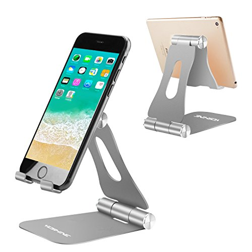 Universal Cell Phone Stands, YOSHINE Portable Cell Phone Desk Holder Tablet Stands Solid Aluminum Stands Charging Dock for Kindle Nintendo Switch/iPad/iPhone X/8/7/6/Samsung Smartphones - Space Grey