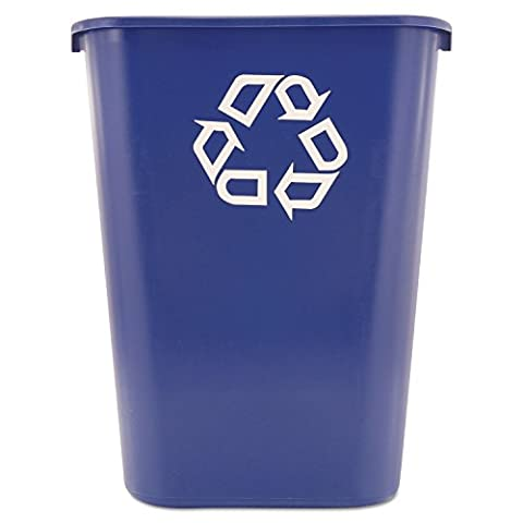 Rubbermaid Commercial 295773BE Large Deskside Recycle Container w/Symbol, Rectangular, Plastic, 41.25qt, - Paper Recycling Bin