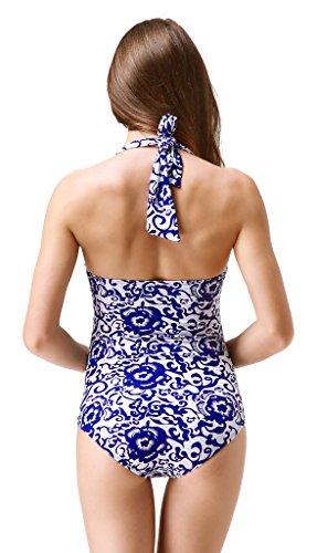 Wantdo Mujer Traje De Baño 1 Pieza Tankini Push Up Acolchado Porcelana Azul Brillante