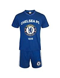 Chelsea FC Official Soccer Gift Mens Loungewear Short Pajamas Blue Large