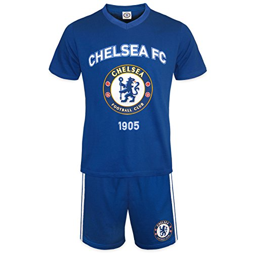 Chelsea FC Official Soccer Gift Mens Loungewear Short Pajamas Blue