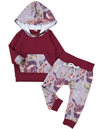 Oklady Christmas Baby Girls Florals Outfit Clothes Set Long Sleeve Hoodie Sweatshirt With Pocket, Wine Red, 6-12 Months