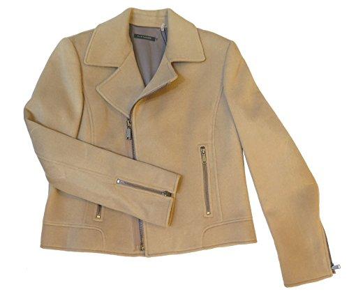 Elie Tahari Mae Biege Wool Asymmetrical Zip Moto Jacket XL