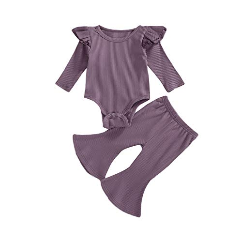 Newborn Baby Girls Knit Outfit Long Sleeve Ruffle Romper Bodysuit Top Solid Plain Flare Pants Clothes Set 2PCS Purple 6-12M