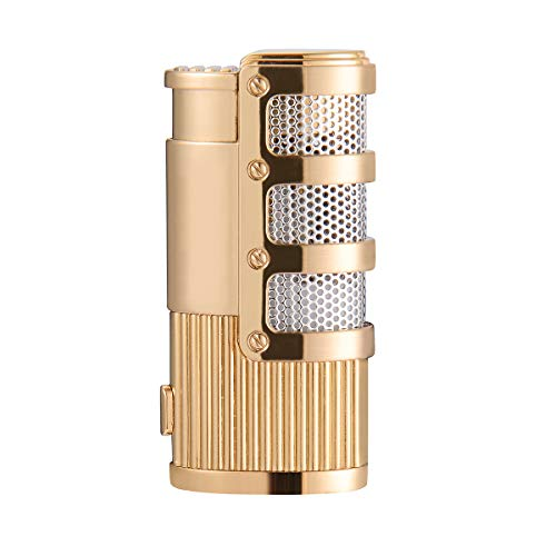 - Cigar Cutter and Lighter Set, Cigar Punch Lighter Triple Jet Flame Butane Cigarette Torch Lighter (Gold)