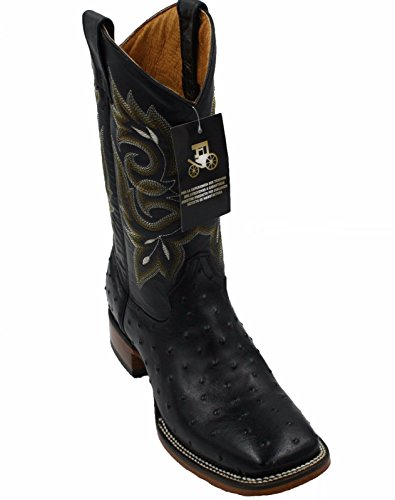 Men Genuine Cowhide Leather Square Toe Ostrich Print Western Cowboy Boots_Black_11.5
