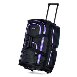 Olympia 22 Inch 8 Pocket Rolling Duffel, Black/Purple, One Size