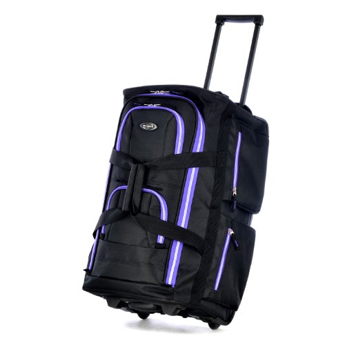 Olympia 8 Pocket Rolling Duffel Bag, Black/Purple
