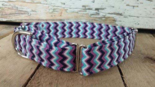Purple chevron dog collar martingale or buckle with leash set option