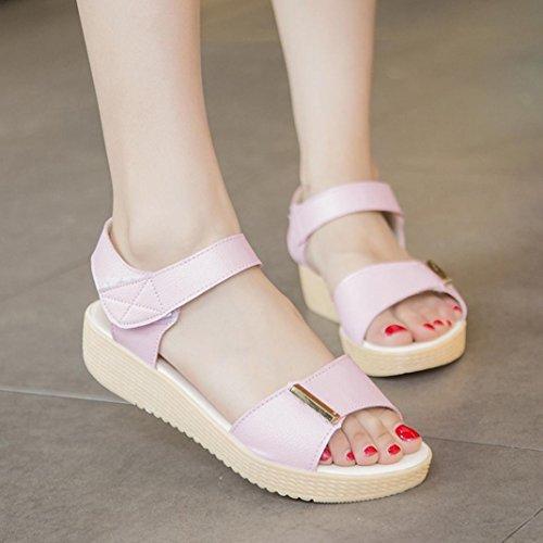 Elevin (tm) Femmes Printemps Été Open Toe Confort Chaussures Plateforme Plate Sandales Chaussures Rose