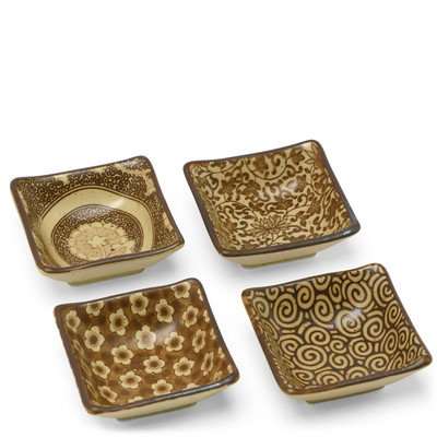 Set of 4 Square Sushi Dipping Sauce Dishes - Sepia G 454