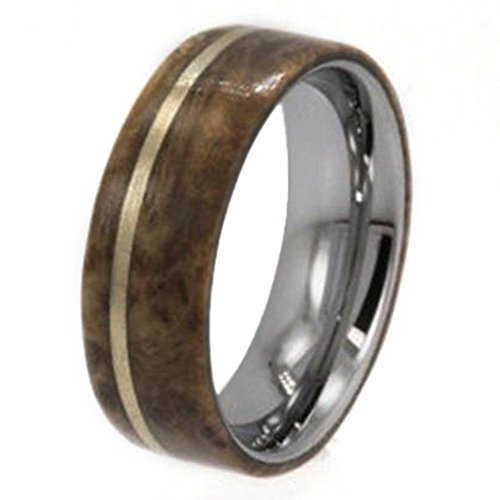 14k Yellow Gold, Buckeye Burl Wood 8mm Comfort-Fit Titanium Band, Size 8.5 by The Men's Jewelry Store (Unisex Jewelry)