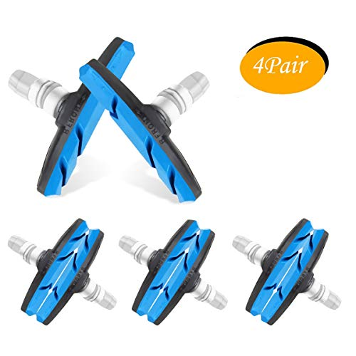 WTSHOP 4Pair V Bike Brake Pads with Hex Nuts and Spacers,Road Mountain Bicycle V-Brake Blocks Shoes (Blue)