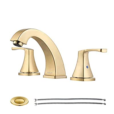 PARLOS 2-Handle Widespread Bathroom Faucet with Pop Up Drain and cUPC Faucet Supply Lines, Brushed Gold, Doris 1417208