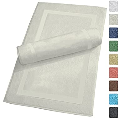 Luxury Hotel and Spa 100% Turkish Cotton Banded Panel Bath Mat Set 900gsm! 20 x34  (Ivory, 2 Pack)