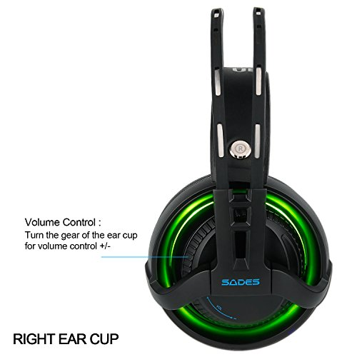 SADES 2017 New R2 USB Headset Surround Stereo Wired PC Gaming Headset Over Ear Mac Gaming Headphones with Microphone Revolution Volume Control Noise Canceling LED Light