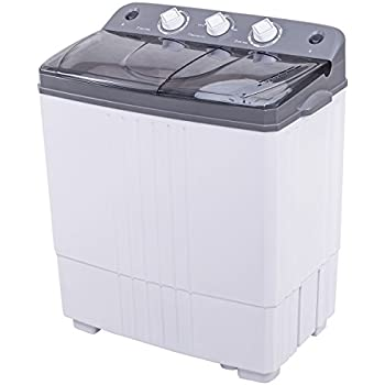 Costway Mini Portable Compact Twin Tub 16Lbs Washing Machine And Washer Spin Cycle w/ Hose