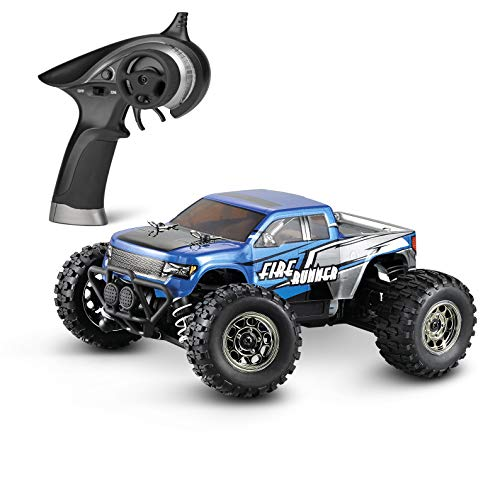 Mini Rc Car - BBM HOBBY Mini RC Cars Fire Runner 1/24 Scale 4WD Off-Road Trucks Radio Control, Electric Power Vehicle 28 KM/H High Speed Monster Truck Waterproof RTR for Kids and Adults, Blue
