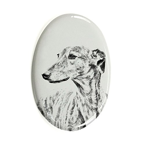 Greyhound, Oval Gravestone from Ceramic Tile with an Image of a Dog