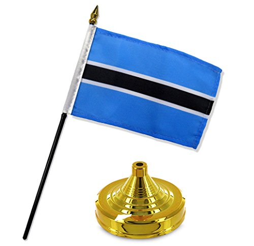 ALBATROS Botswana 4 inch x 6 inch Flag Desk Set Table Stick with Gold Base for Home and Parades, Official Party, All Weather Indoors Outdoors ()