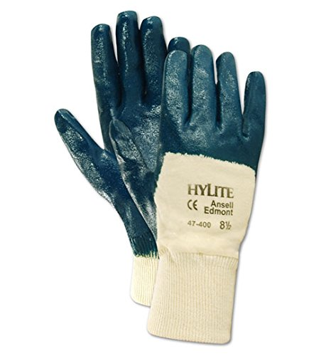 Cotton Gloves Ansell (Ansell 103452 Hylite 47400 Nitrile Coated Knitwrist Cotton Lined Medium Duty Gloves, 0.42