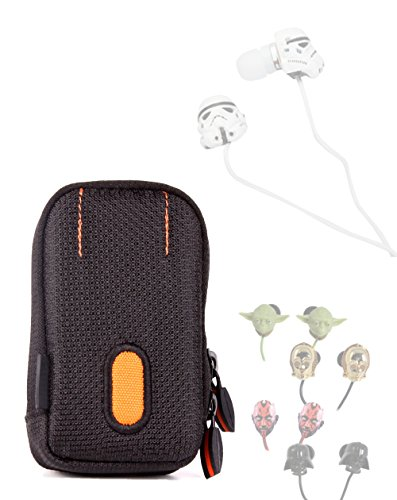 DURAGADGET Rugged Protective Earphone Case in Black and Orange with Belt Loop - Suitable for Star Wars Earphones (C-3PO, R2-D2, Storm Trooper, Darth Vader, Yoda and More)