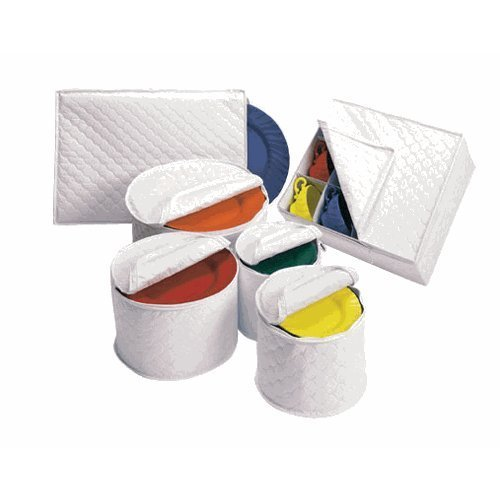 Richards Homewares 1090 China White Starter 6 Piece Tabletop Quilted Vinyl Dinnerware Storage Set, -