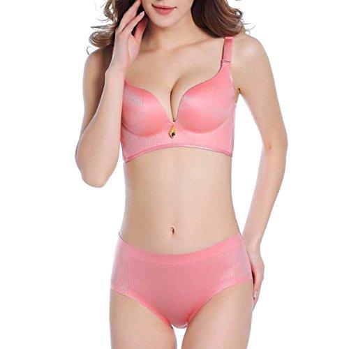 EAMIYA Rayas Sin Dejar Rastro Sin Llantas Atractivo Recopilar Ajuste Ajuste Las Mujeres Sujetador Pink