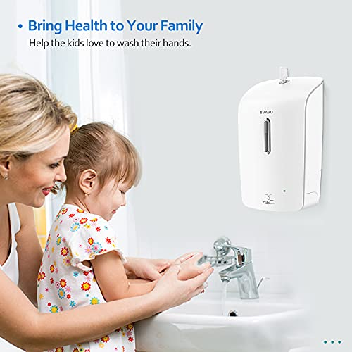 SVAVO Automatic Soap Dispenser Wall Mounted Hand Sanitizer Dispenser 33.8oz/1000ml Touchless Liquid Soap Dispenser Sensor Soap Dispenser Pump for Bathroom Kitchen Commercial