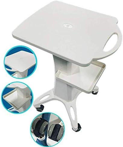 YASE-king 病院トロリー、医療用品ラック、ハンドルと医療カートモバイルホワイトビューティーサロンユーティリティカート、ホイール上のPVCスパ美容機器ストレージローリングトロリー、50キロ容量、ホワイト、42×38×72CM