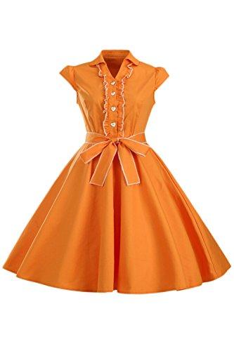 Fuse Style lgante Hepburn Et Une Femme Bouton Digne Robe Sevozimda Orange Mancherons EwUSzOWq