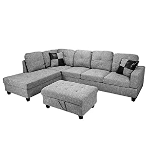 3 Piece Linen Contemporary Sectional Sofa Set with Ottoman, 2 Accent Pillows