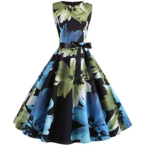 DORIC Vintage 1950s Retro Sleeveless O Neck Print Evening Party Dresses for Women Classic Prom Swing Dress