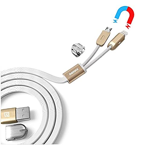 Dual USB Charging Cable, Nkomax 3.3 Feet Magnetic 2 in 1 Micro USB Lightning Cable Data Sync Power Cord for iPhone Samsung Sony - 2 Micro Usb