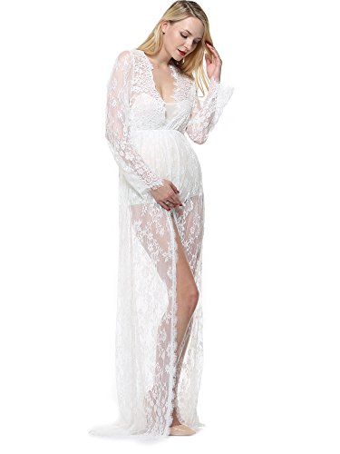 Amoretu Maternity Split Front Photography Gown Long Sleeve Maxi Dress for Photo Shoot